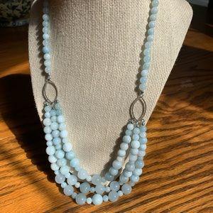 Aquamarine 3 strand necklace.Beautiful